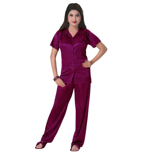 Color: Purple 3 Pcs Satin Pyjama Set with Bedroom Slippers Size: One Size