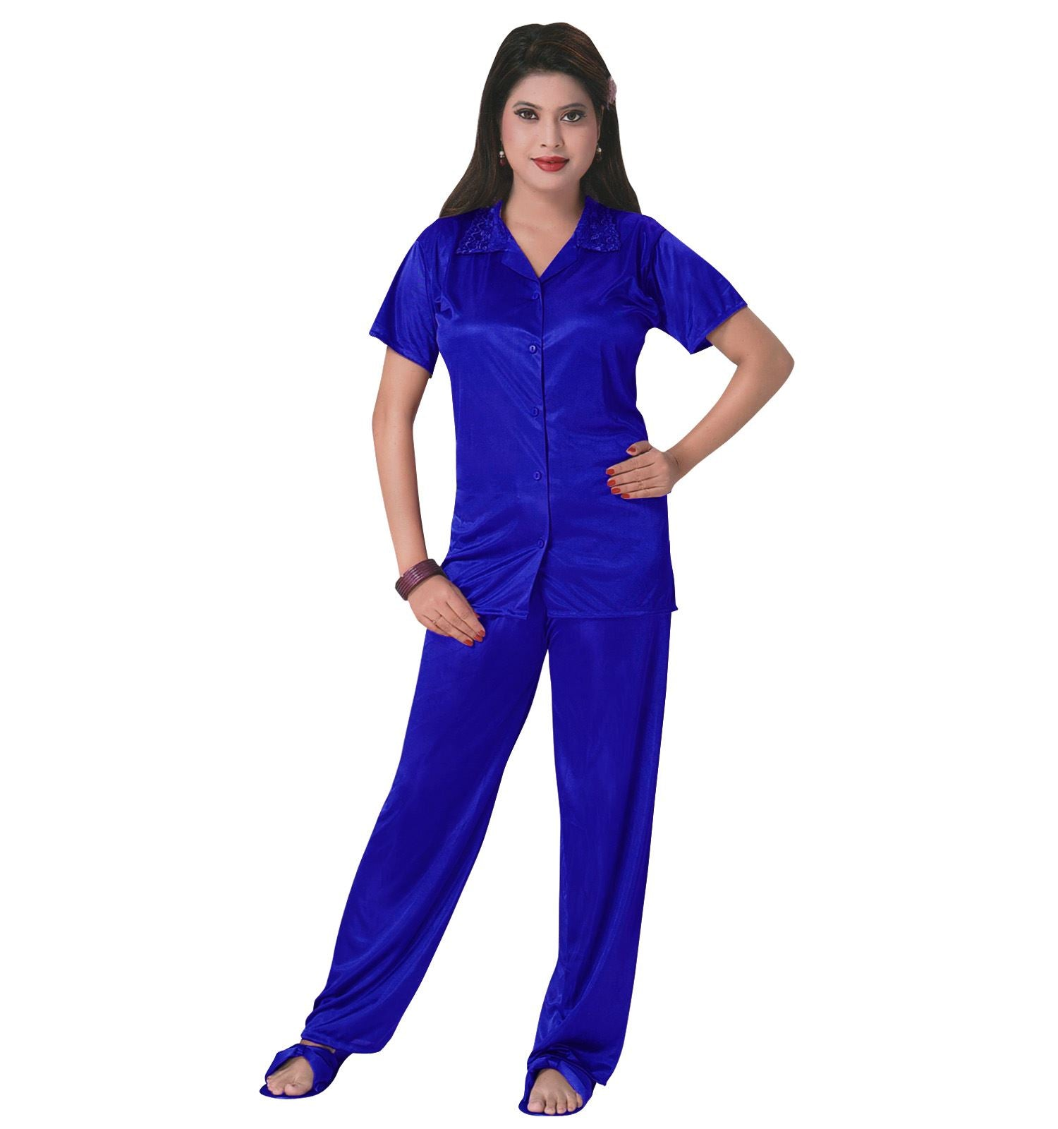 Color: Royal Blue 3 Pcs Satin Pyjama Set with Bedroom Slippers Size: One Size