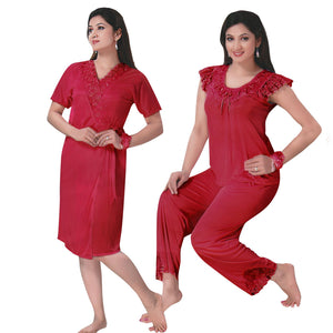 Color: Red 3 Pcs Pyjama Set With Robe Size: One Size