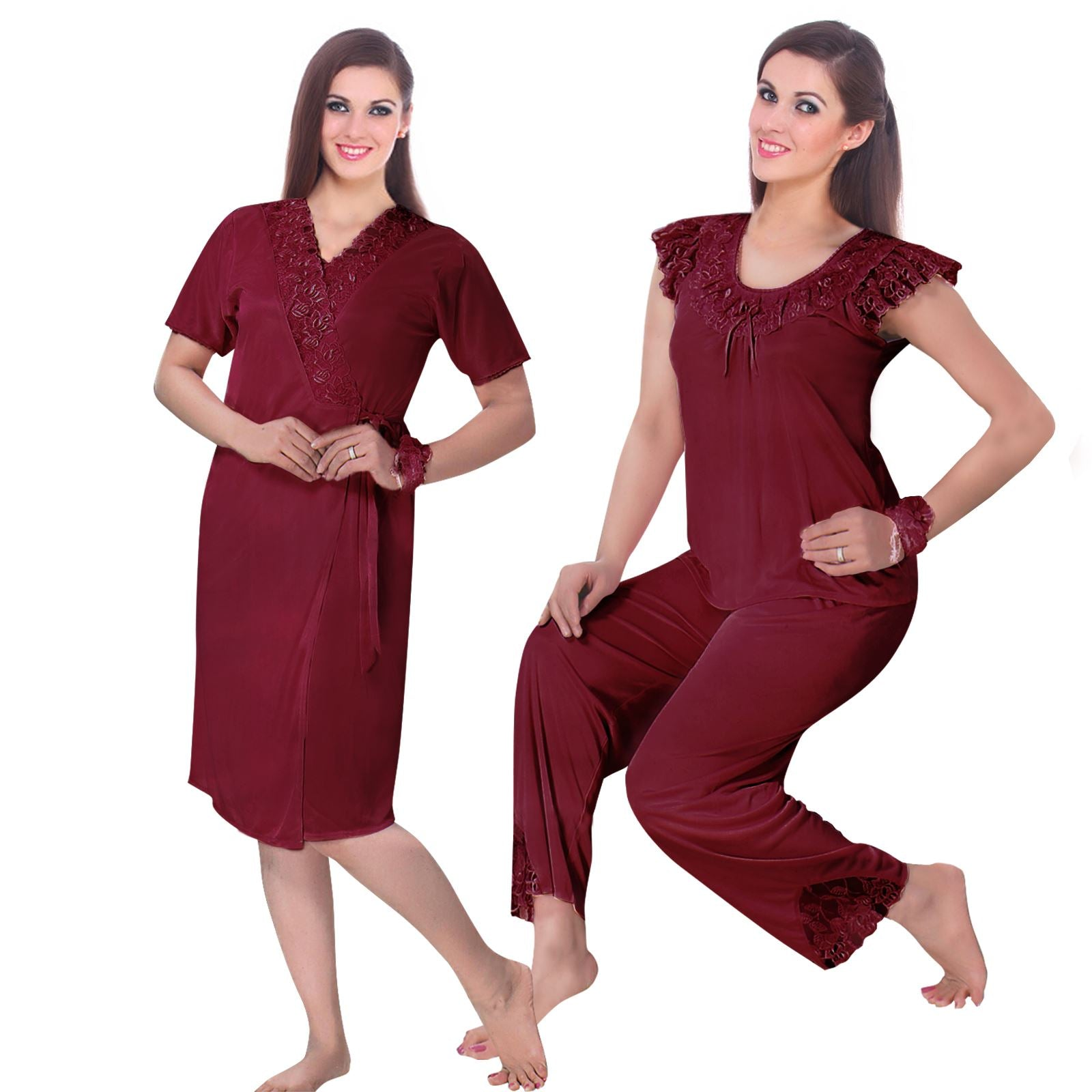 Color: Deep Red 3 Pcs Pyjama Set With Robe Size: One Size