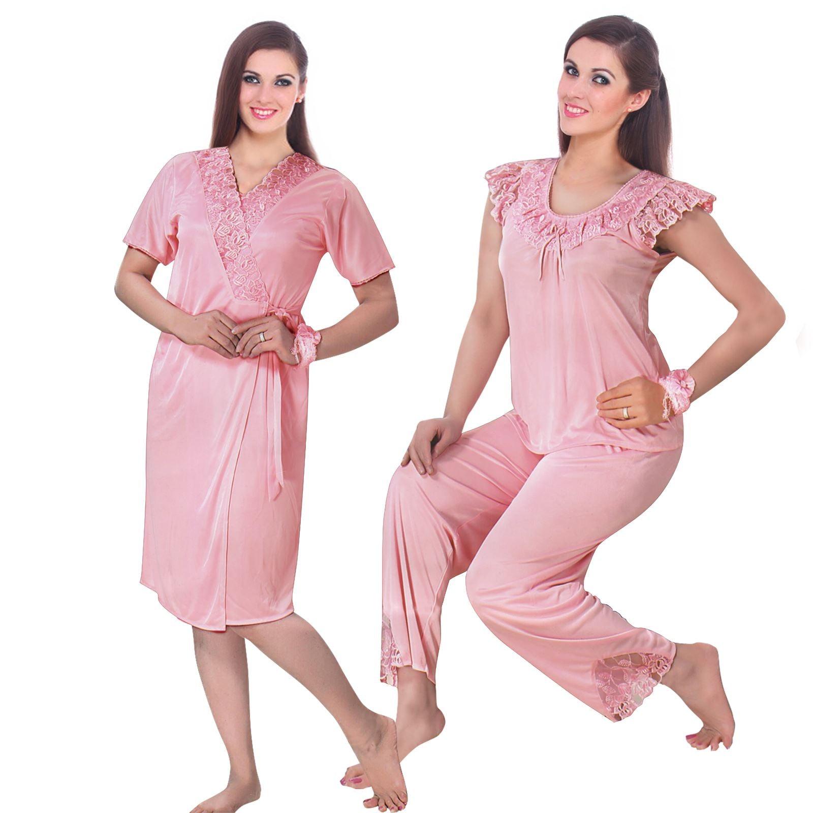 Color: Baby Pink 3 Pcs Pyjama Set With Robe Size: One Size