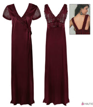 Load image into Gallery viewer, Satin Long Nighty with Lace Cups and Matching Robe [colour]- Hautie UK, #Nightfashion | #Underfashion