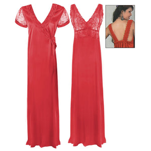 Satin Long Nighty with Lace Cups and Matching Robe - Hautie Nightfashion