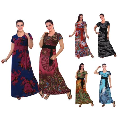 Women Stretchable Printed Belted Long Nightgown [colour]- Hautie UK, #Nightfashion | #Underfashion