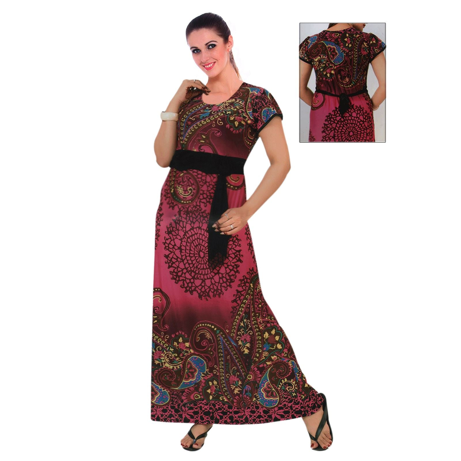 Women Stretchable Printed Belted Long Nightgown - Hautie Nightfashion