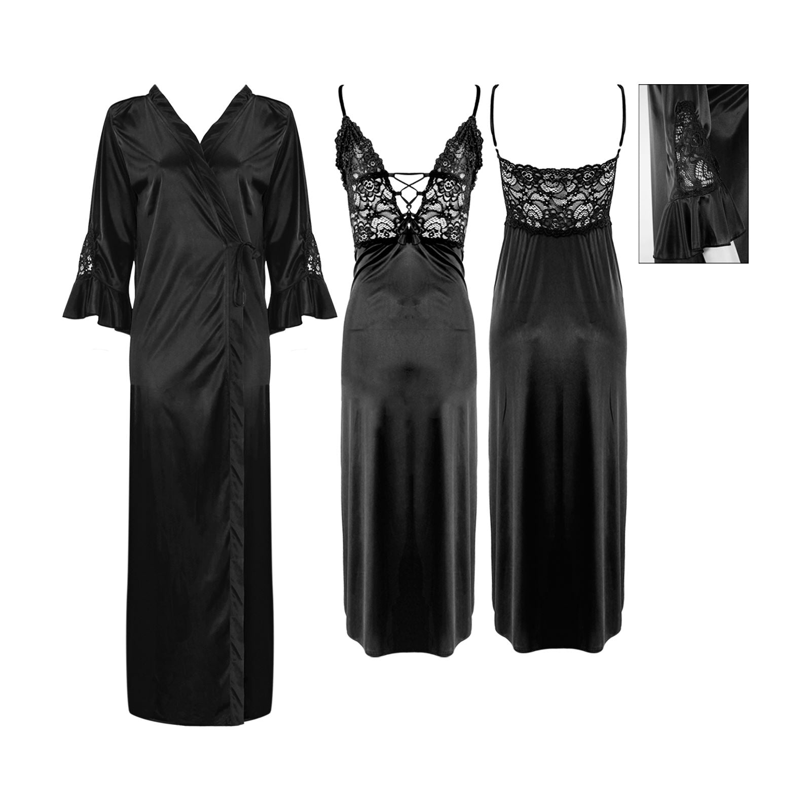 Sexy Corset Satin Short Nighty with Long Robe [colour]- Hautie UK, #Nightfashion | #Underfashion