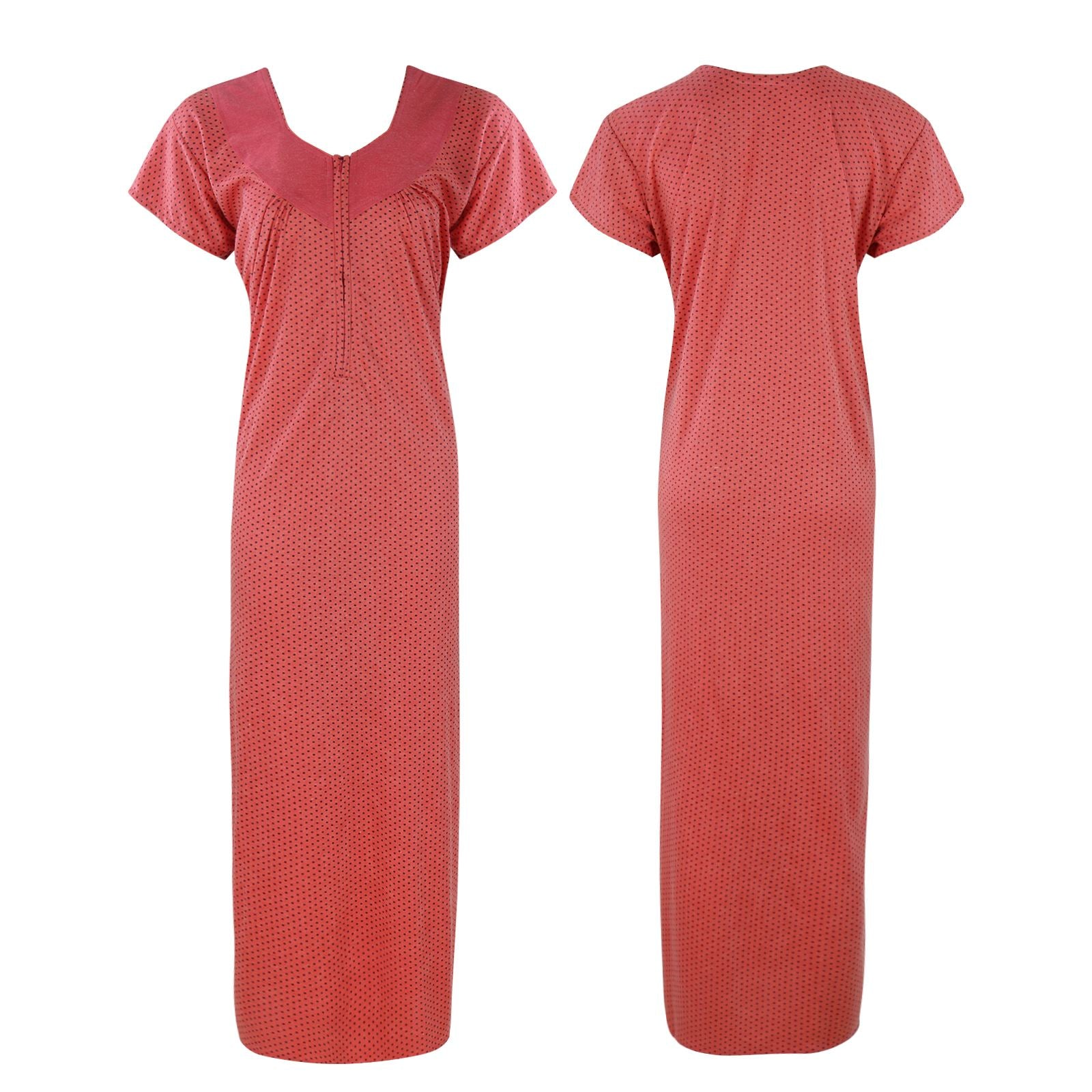Cotton Rich Solid Colour Zip Nightdress [colour]- Hautie UK, #Nightfashion | #Underfashion