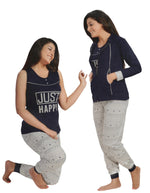 Afbeelding in Gallery-weergave laden, JUST HAPPY 3 Pcs Tracksuit [colour]- Hautie UK, #Nightfashion | #Underfashion