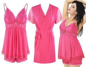 Color: Rose 3 Piece Satin Shorts Chemise With Robe Size: One Size: Regular (8-14)
