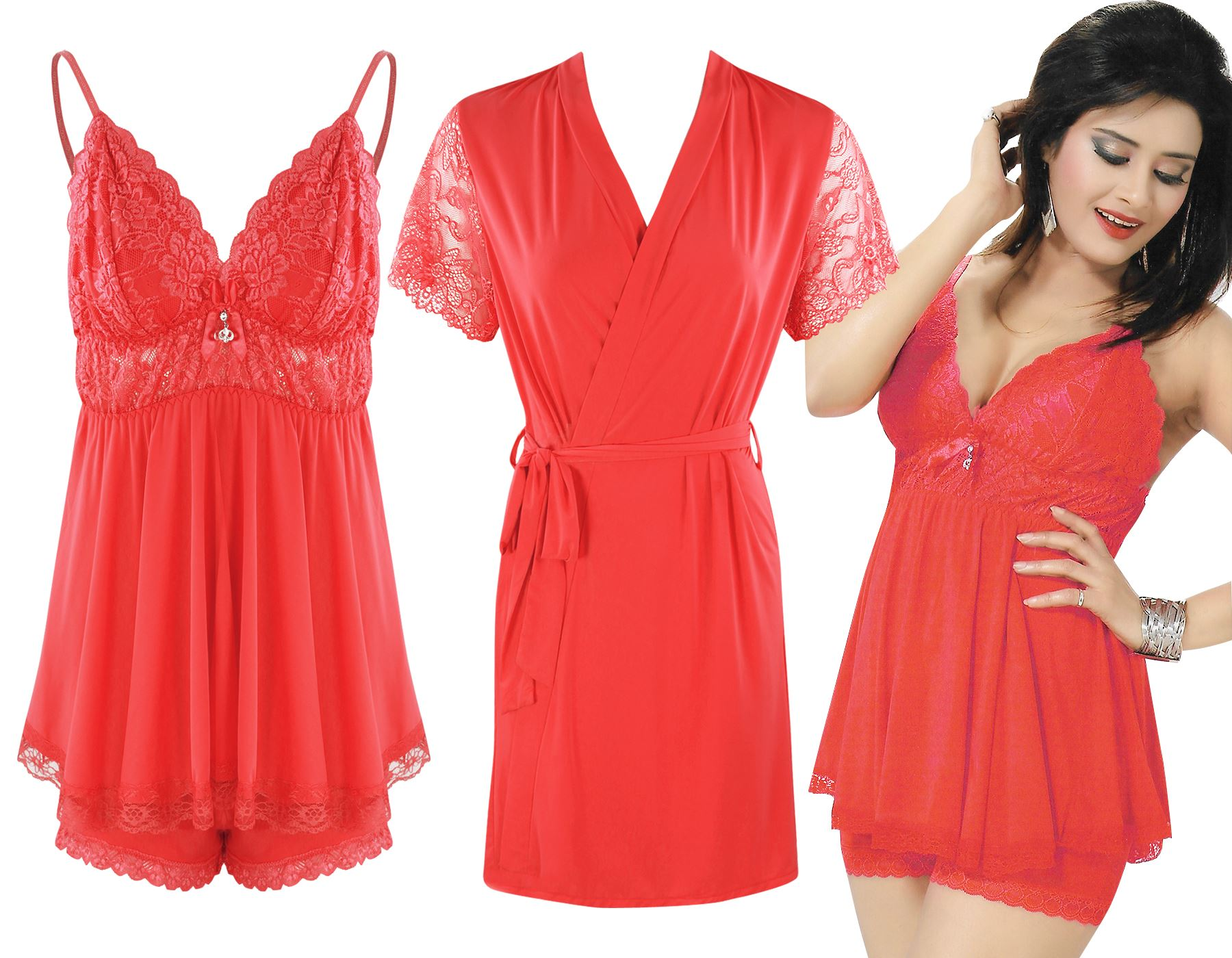 Color: Red 3 Piece Satin Shorts Chemise With Robe Size: One Size: Regular (8-14)