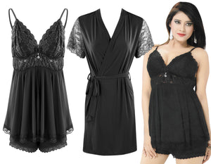 Color: Black 3 Piece Satin Shorts Chemise With Robe Size: One Size: Regular (8-14)
