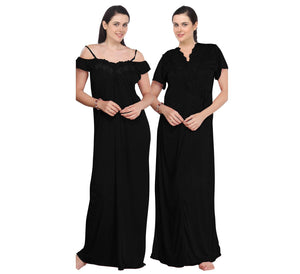 Off Shoulder Satin Nighty With Robe - Hautie Nightfashion