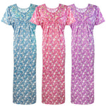 Load image into Gallery viewer, Cotton Rich Floral Long Nighty [colour]- Hautie UK, #Nightfashion | #Underfashion