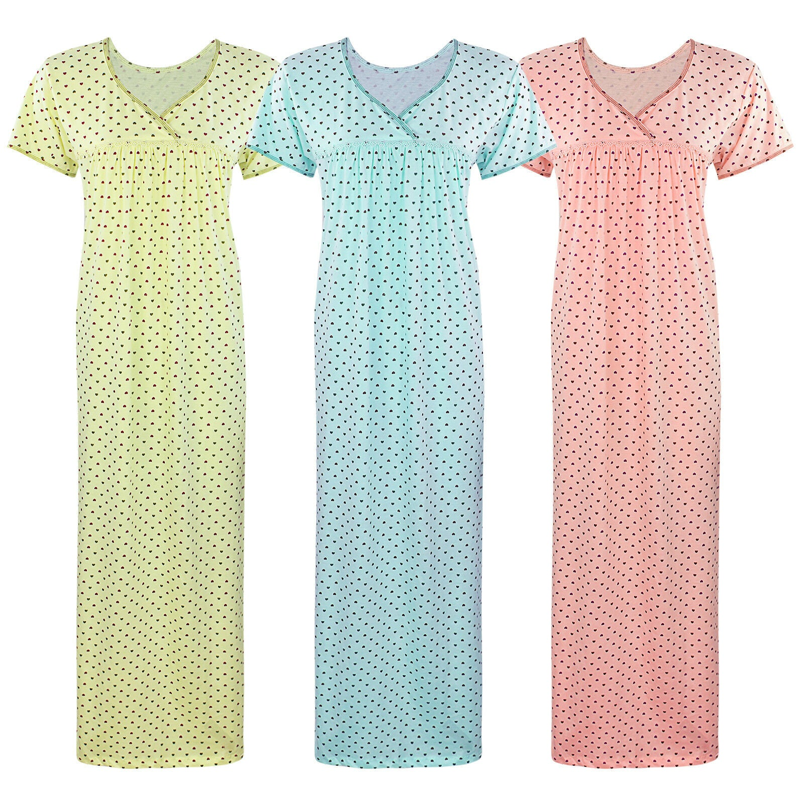 Color: Pink, Sky Blue, Yellow 100% Cotton Heart Print Long Nightie Size: One Size