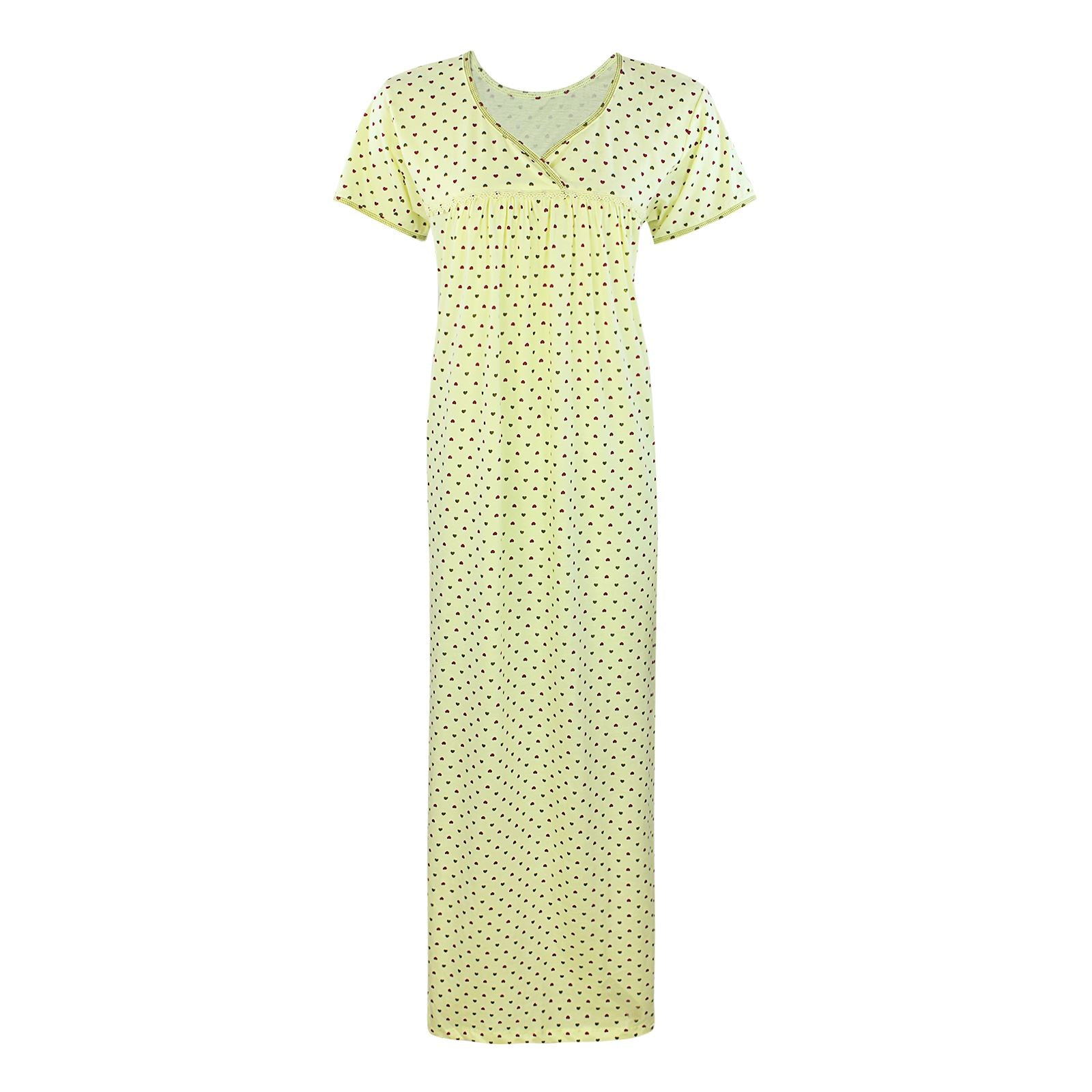 Color: Yellow 100% Cotton Heart Print Long Nightie Size: One Size