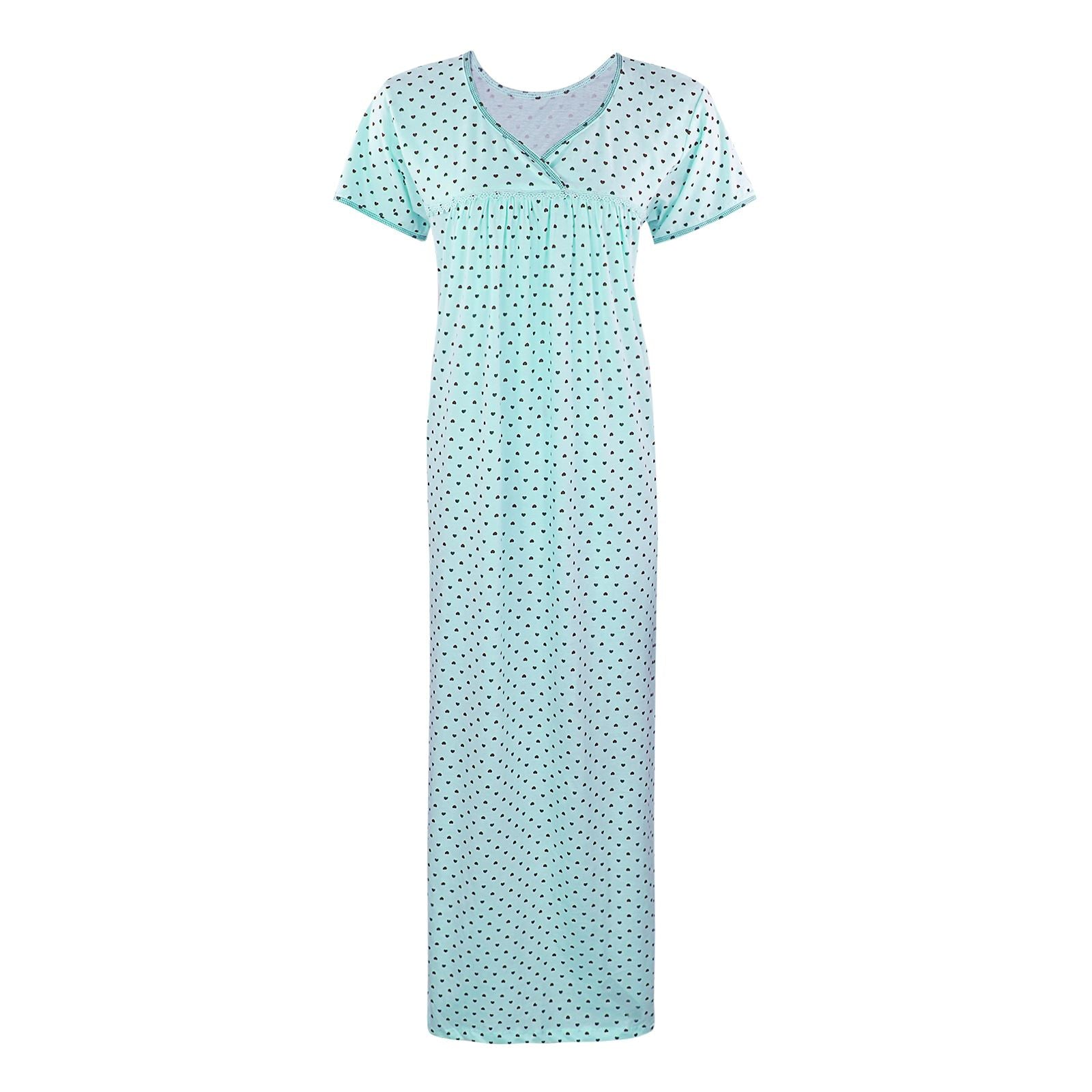 Color: Sky Blue 100% Cotton Heart Print Long Nightie Size: One Size