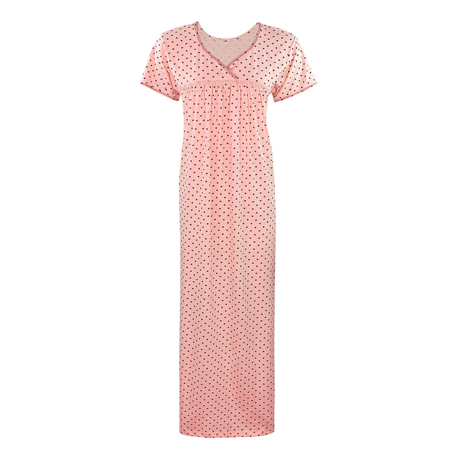 Color: Pink 100% Cotton Heart Print Long Nightie Size: One Size