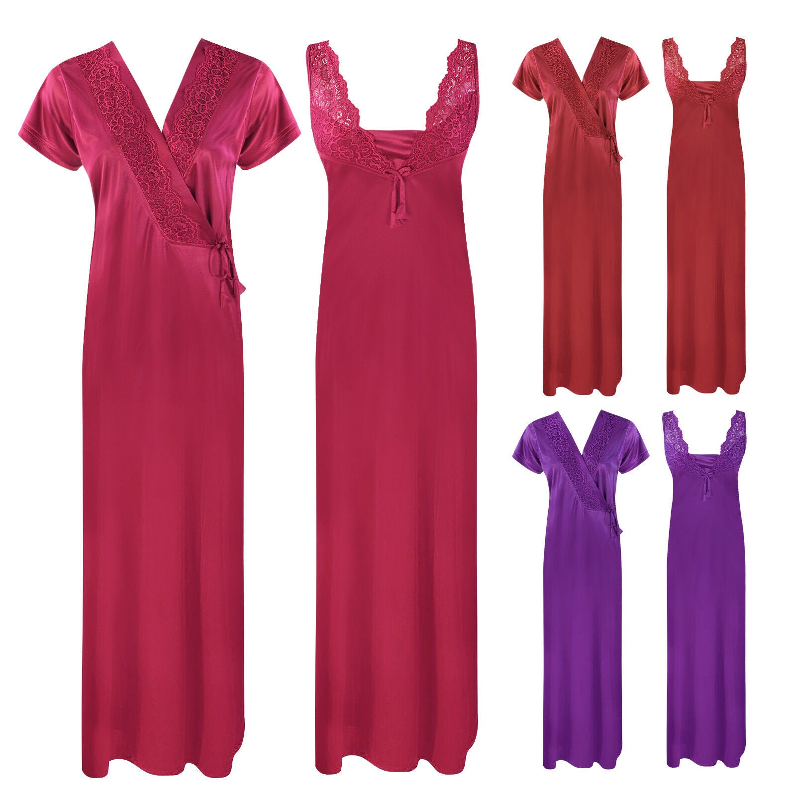 Color: Deep Red, Ruby, Wine 2 Piece Satin Long Nighty With Robe Size: One Size: Regular (8-14)