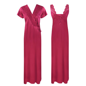 Color: Ruby 2 Piece Satin Long Nighty With Robe Size: One Size: Regular (8-14)