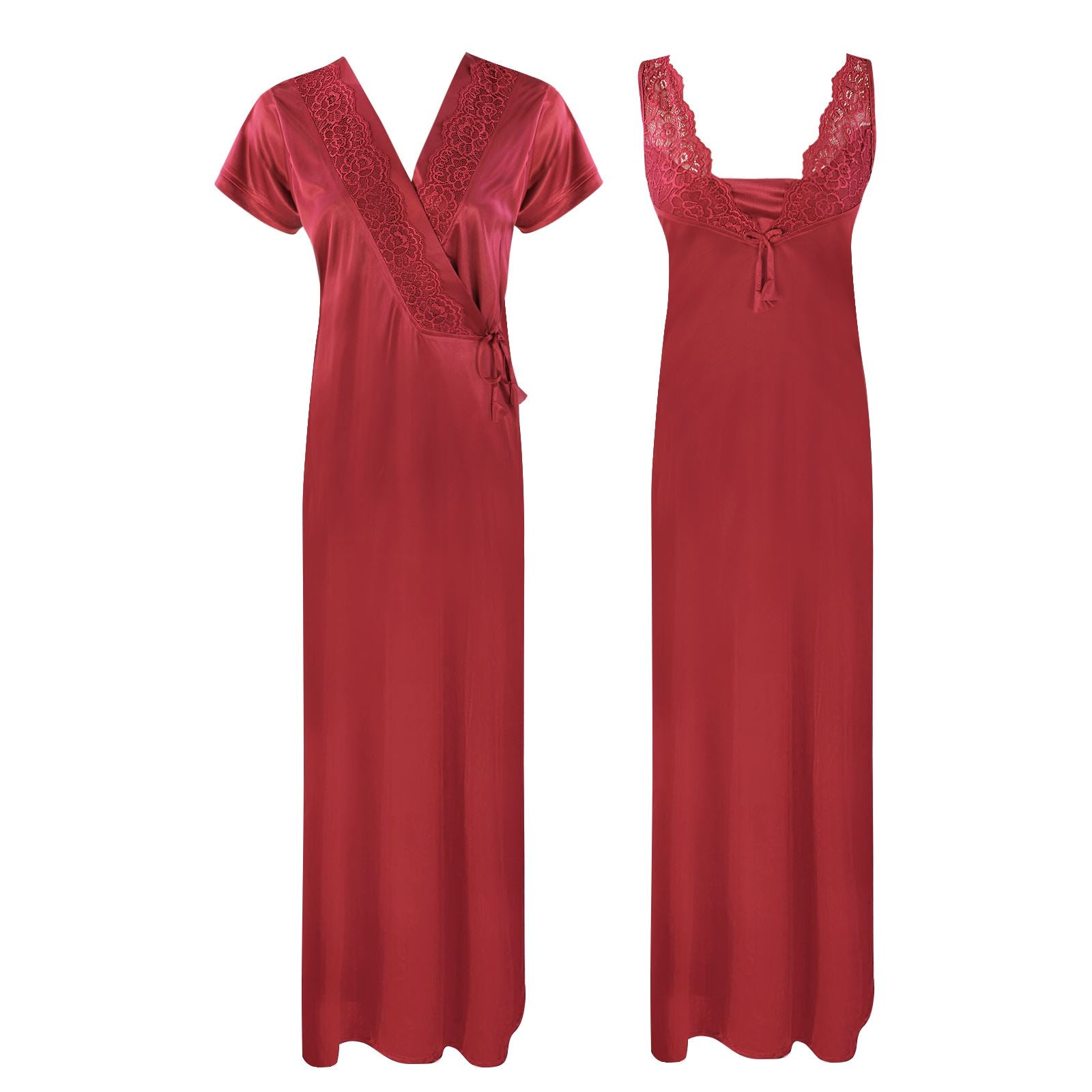 Color: Deep Red 2 Piece Satin Long Nighty With Robe Size: One Size: Regular (8-14)