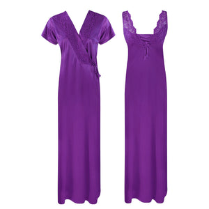 Color: Wine 2 Piece Satin Long Nighty With Robe Size: One Size: Regular (8-14)