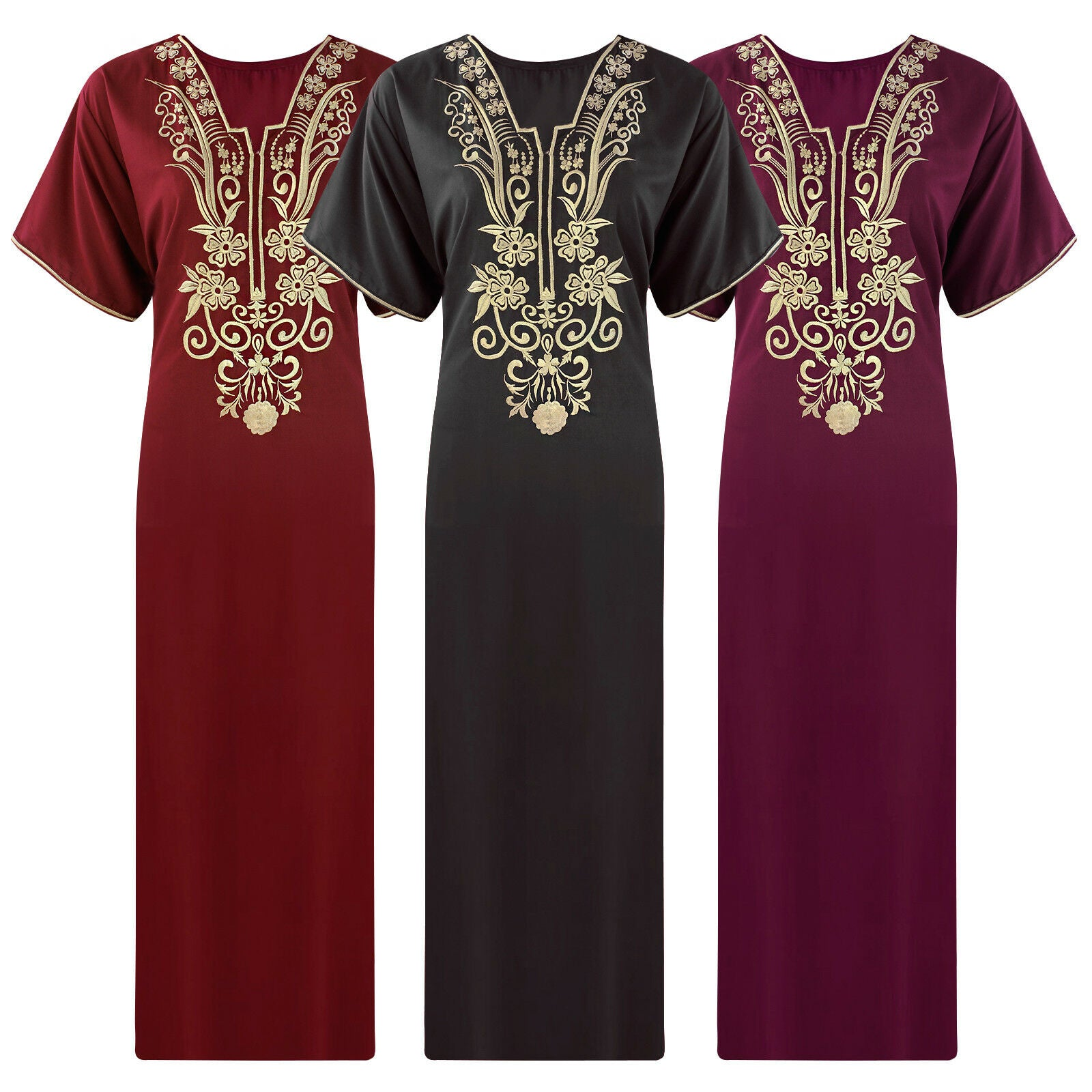 Cotton Rich Embroidery Plus Size Nightdress [colour]- Hautie UK, #Nightfashion | #Underfashion