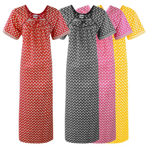 Color: Grey, Pink, Red, Yellow 100% Cotton Printed Nighty Size: One Size