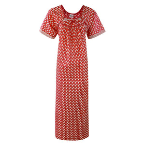 Color: Red 100% Cotton Printed Nighty Size: One Size
