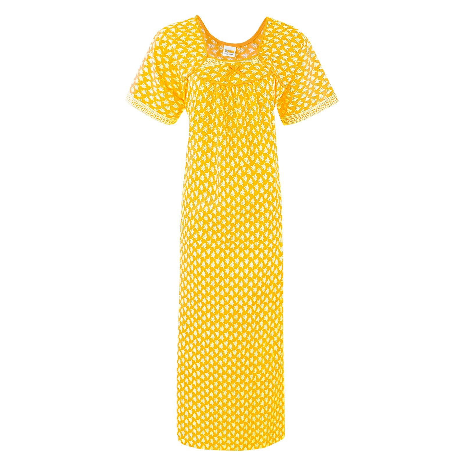 Color: Yellow 100% Cotton Printed Nighty Size: One Size