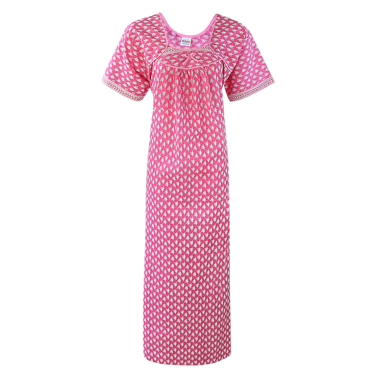 Color: Pink 100% Cotton Printed Nighty Size: One Size