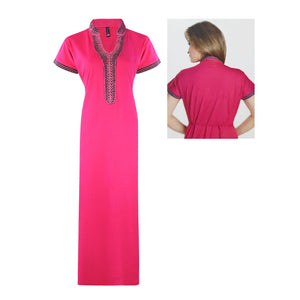 High Neck Embroidery Short Sleeve Cotton Nighty [colour]- Hautie UK, #Nightfashion | #Underfashion