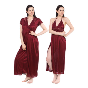 Sexy Satin Long Nighty With Robe [colour]- Hautie UK, #Nightfashion | #Underfashion