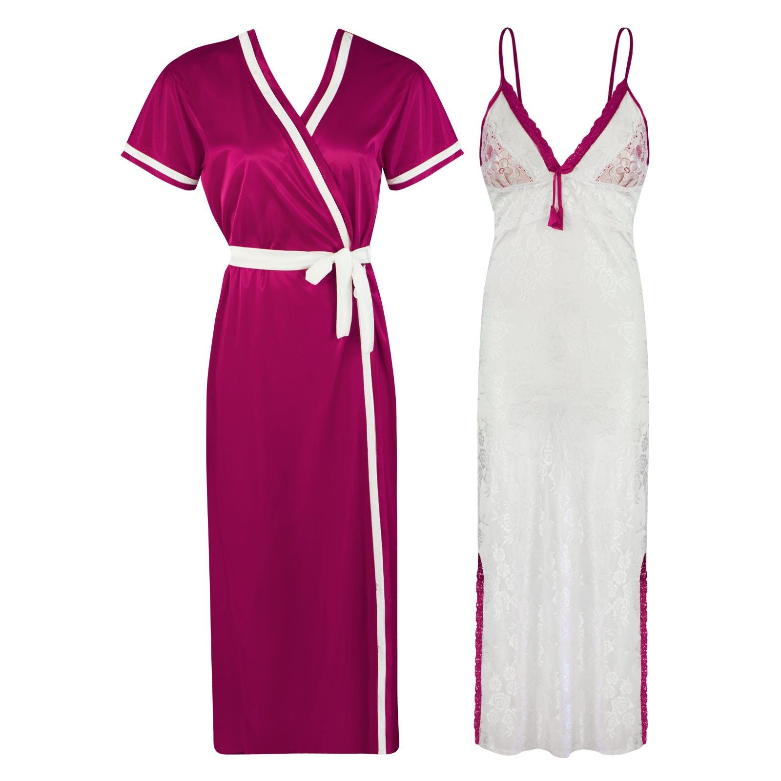 Sexy Lace Satin White Nightdress With Robe [colour]- Hautie UK, #Nightfashion | #Underfashion ONE, FREE SIZE S M L XL  CERISE