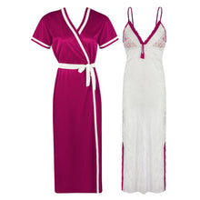Load image into Gallery viewer, Sexy Lace Satin White Nightdress With Robe [colour]- Hautie UK, #Nightfashion | #Underfashion