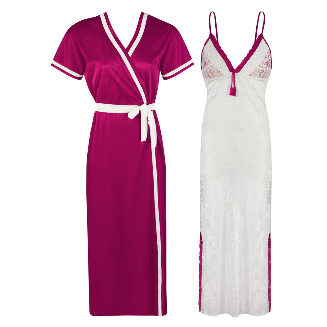 Sexy Lace Satin White Nightdress With Robe [colour]- Hautie UK, #Nightfashion | #Underfashion