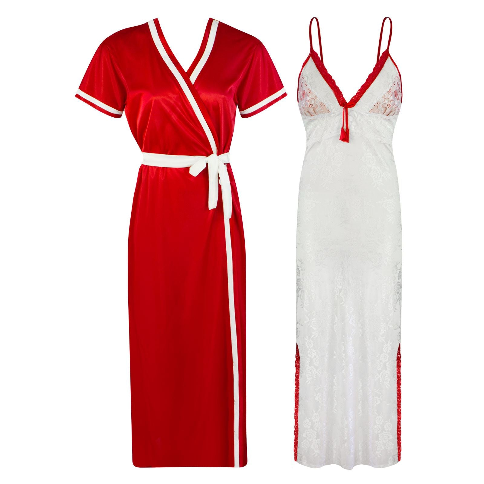 Sexy Lace Satin White Nightdress With Robe [colour]- Hautie UK, #Nightfashion | #Underfashion ONE, FREE SIZE S M L XL  DEEP RED