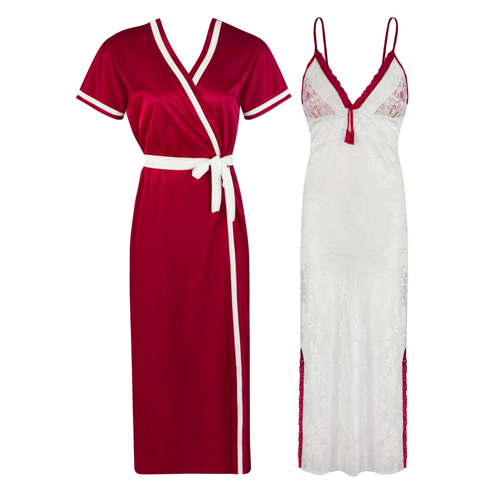 Sexy Lace Satin White Nightdress With Robe [colour]- Hautie UK, #Nightfashion | #Underfashion ONE, FREE SIZE S M L XL  RED
