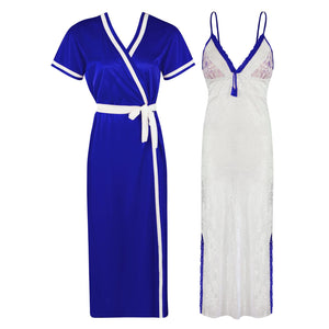 Sexy Lace Satin White Nightdress With Robe [colour]- Hautie UK, #Nightfashion | #Underfashion ONE, FREE SIZE S M L XL  ROYAL BLUE