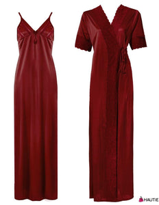Satin Long Strappy Nighty and Robe 2 Pcs Set - Hautie Nightfashion
