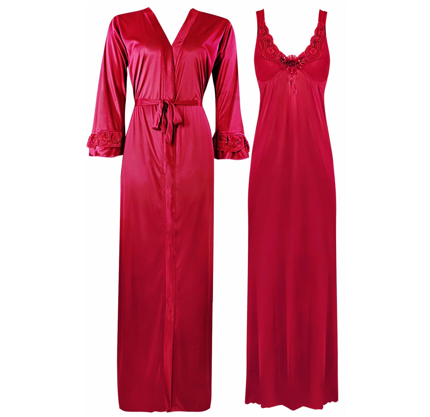 Color: Cerise 2 Piece Satin Nighty and Robe With Long Sleeve Dressing Gown Size: XL