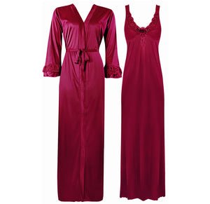 Color: Fuchsia 2 Piece Satin Nighty and Robe With Long Sleeve Dressing Gown Size: XL