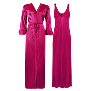 Color: Hot Pink 2 Piece Satin Nighty and Robe With Long Sleeve Dressing Gown Size: XL