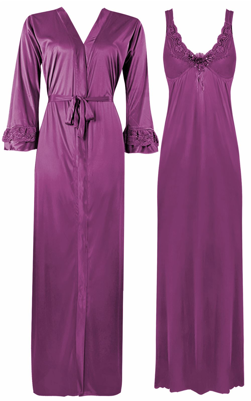 Color: Light Purple 2 Piece Satin Nighty and Robe With Long Sleeve Dressing Gown Size: XL