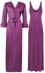 Načíst obrázek do prohlížeče Galerie, Color: Light Purple 2 Piece Satin Nighty and Robe With Long Sleeve Dressing Gown Size: XL