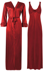 Color: Ruby 2 Piece Satin Nighty and Robe With Long Sleeve Dressing Gown Size: XL