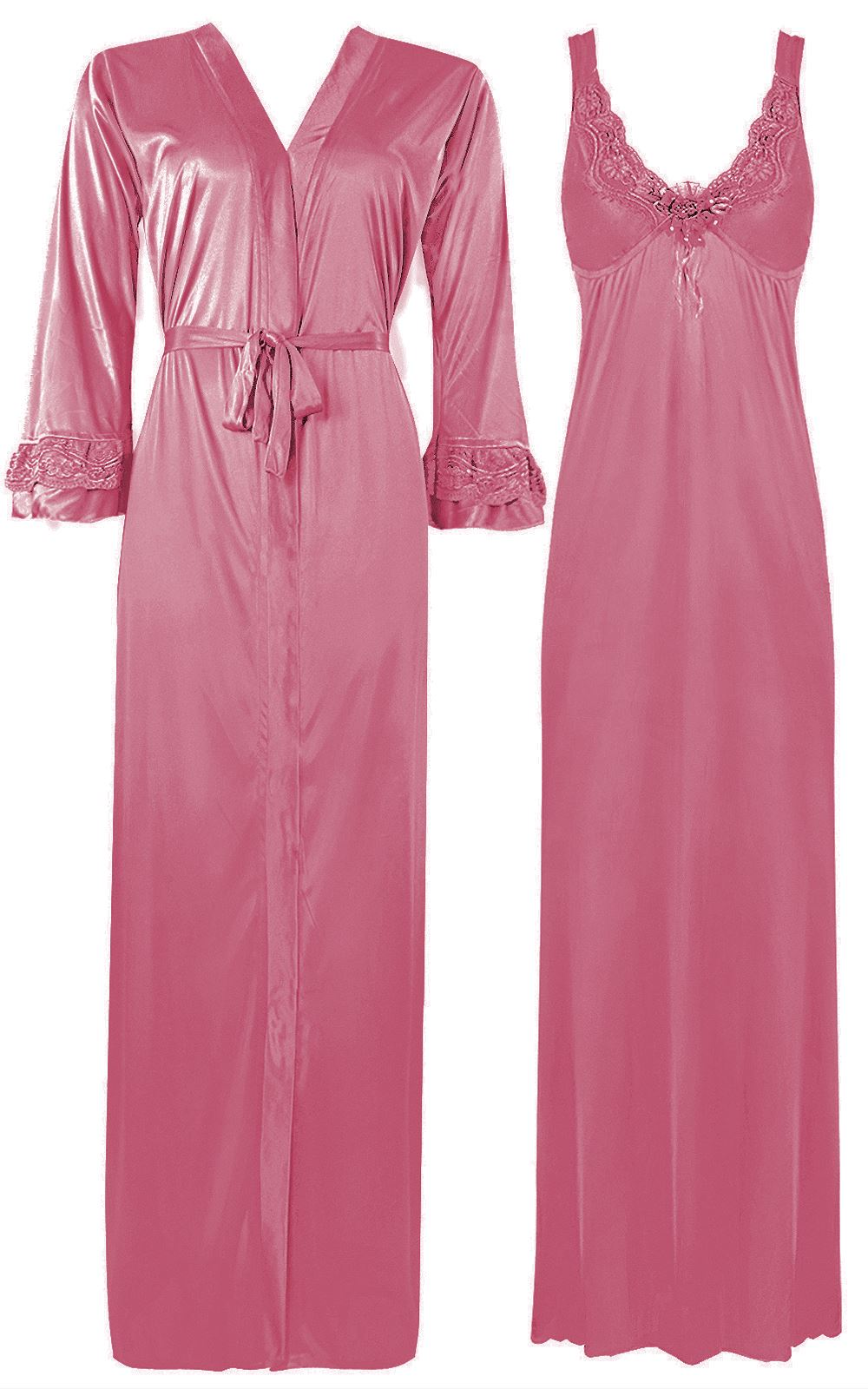 Color: Baby Pink, Black, Blue, Cerise, Coral, Dark Purple, Dark Wine, Deep Red, Fuchsia, Gold, Green, Hot Pink, Light Purple, Navy, Neon Green, Orange, Purple, Red, Rose, Rose Pink, Royal Blue, Ruby, Silver, Teal, Wine 2 Piece Satin Nighty and Robe With Long Sleeve Dressing Gown Size: XL, One Size