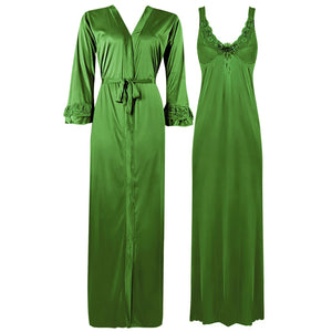 Color: Green 2 Piece Satin Nighty and Robe With Long Sleeve Dressing Gown Size: XL