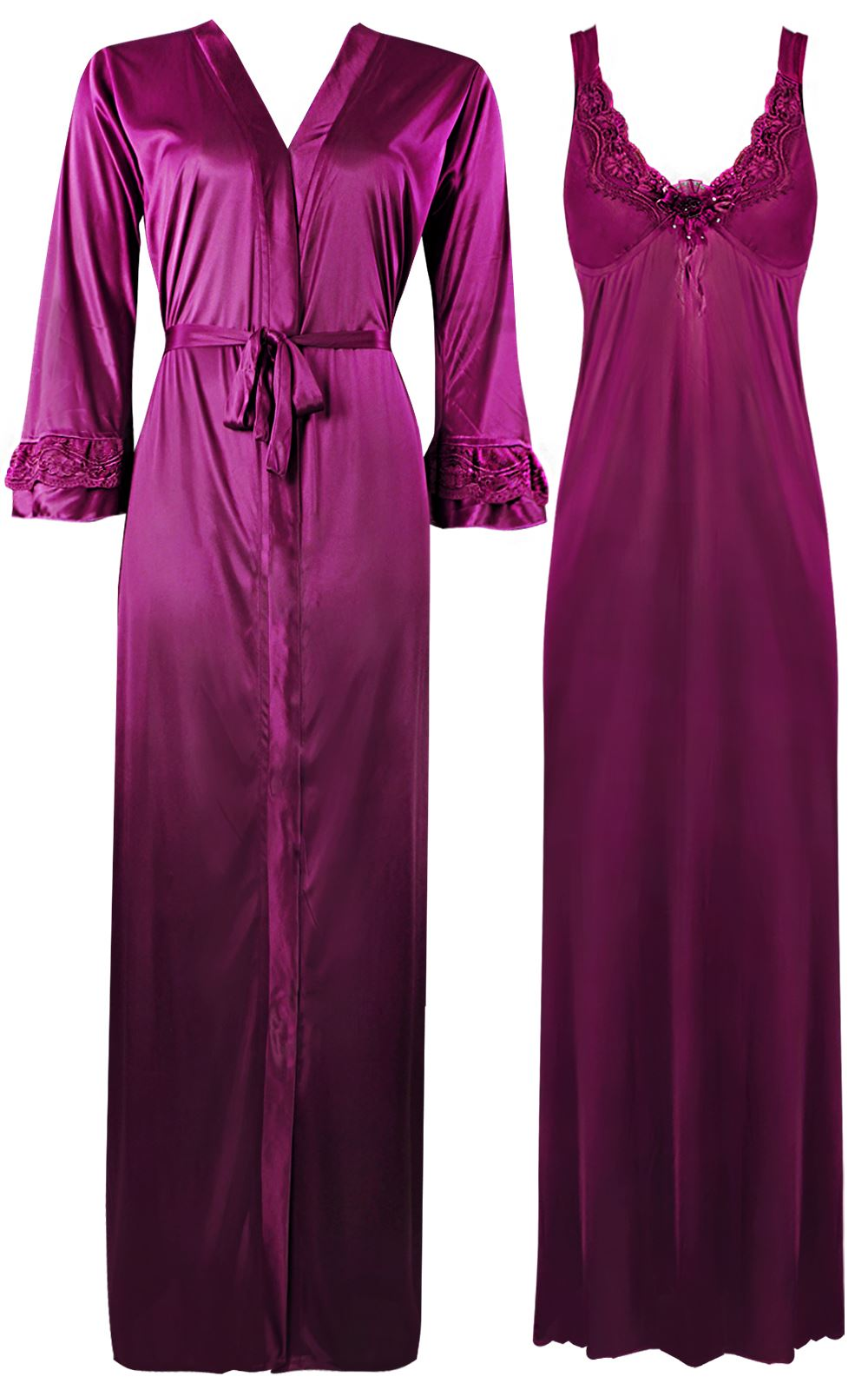Color: Wine 2 Piece Satin Nighty and Robe With Long Sleeve Dressing Gown Size: XL