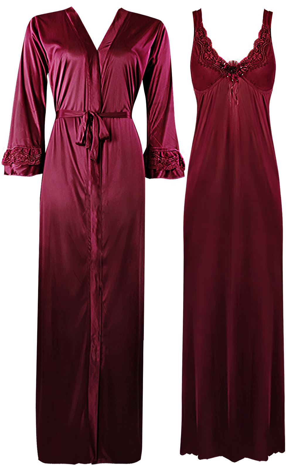 Color: Deep Red 2 Piece Satin Nighty and Robe With Long Sleeve Dressing Gown Size: XL
