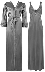 Color: Silver 2 Piece Satin Nighty and Robe With Long Sleeve Dressing Gown Size: XL